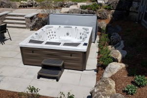 Beautiful outdoor Sundance Spas hot tub installation.