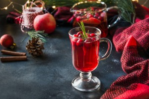Glass of Christmas punch.