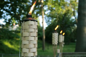 Tiki torches in a backyard.