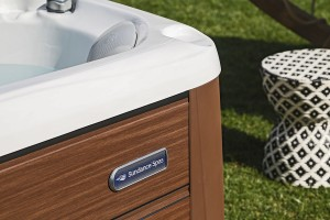 Close-up of outdoor Sundance Spas hot tub.